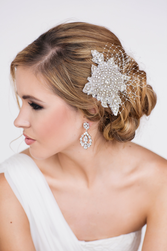 Alexis Bridal Headpiece & Lydia Bridal Earrings - www.perlejewellerymakeup.com.au
