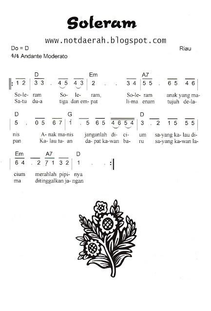 Not Angka Lagu Soleram