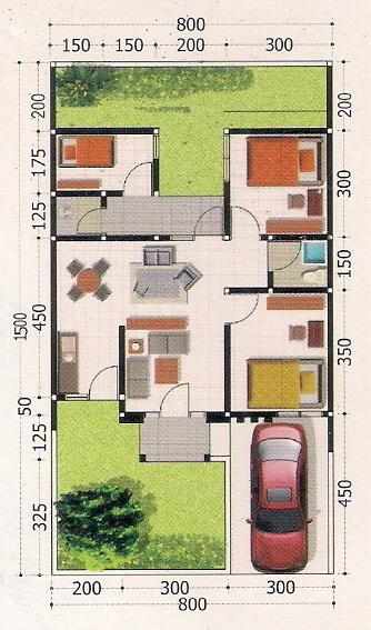 rumahku 1 contoh denah rumah minimalis type 62 120