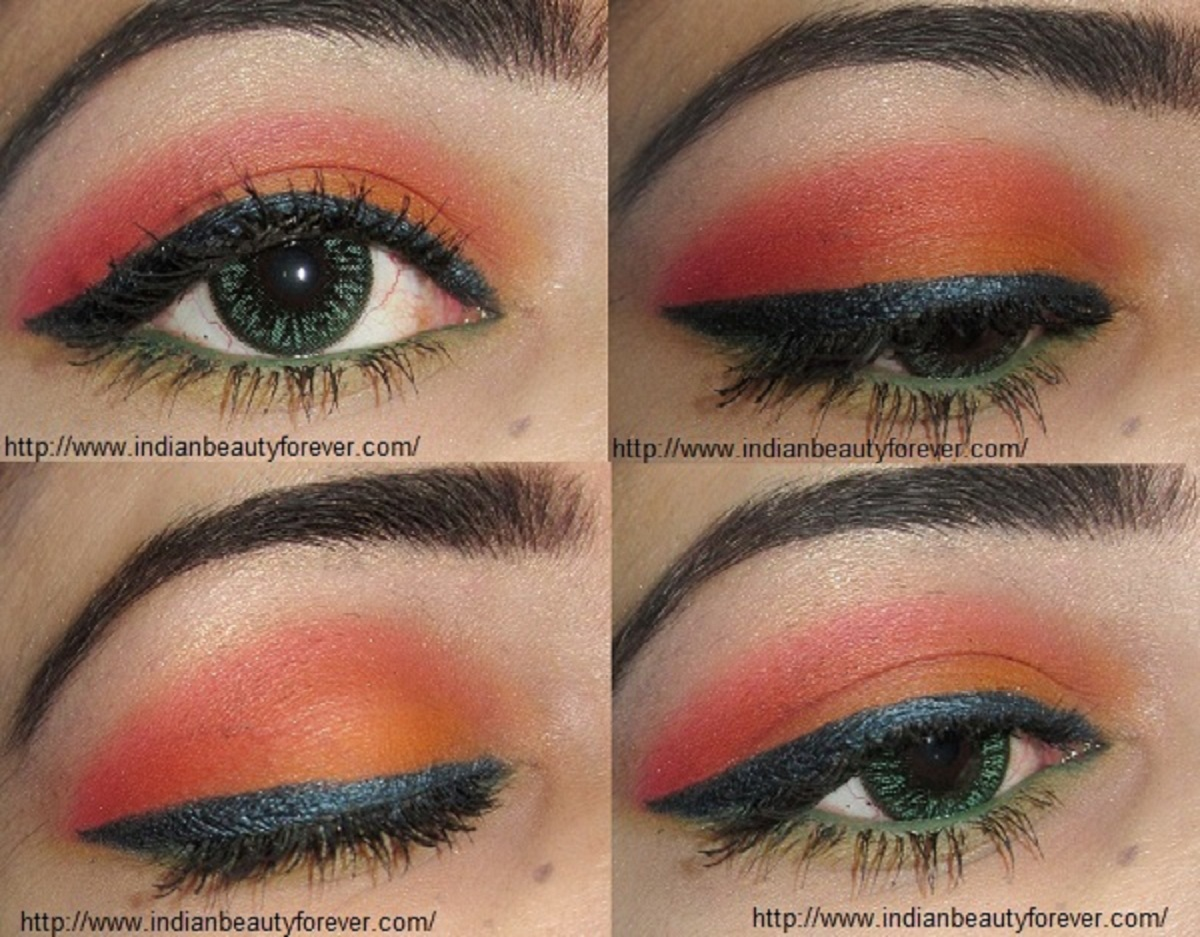 Orange Summer Eye makeup Tutorial for indian eyes