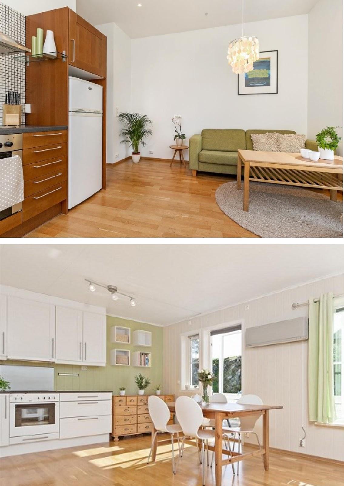 cocina de caoba con verde oliva, verde limon, cocina moderna y blanca