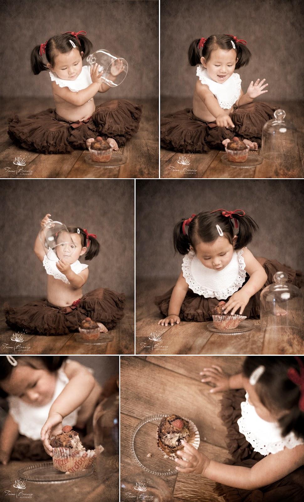 Barnebilder av en liten jente som spiser kake - fotografert av fotograf trine bjervig i Tønsberg, vestfold