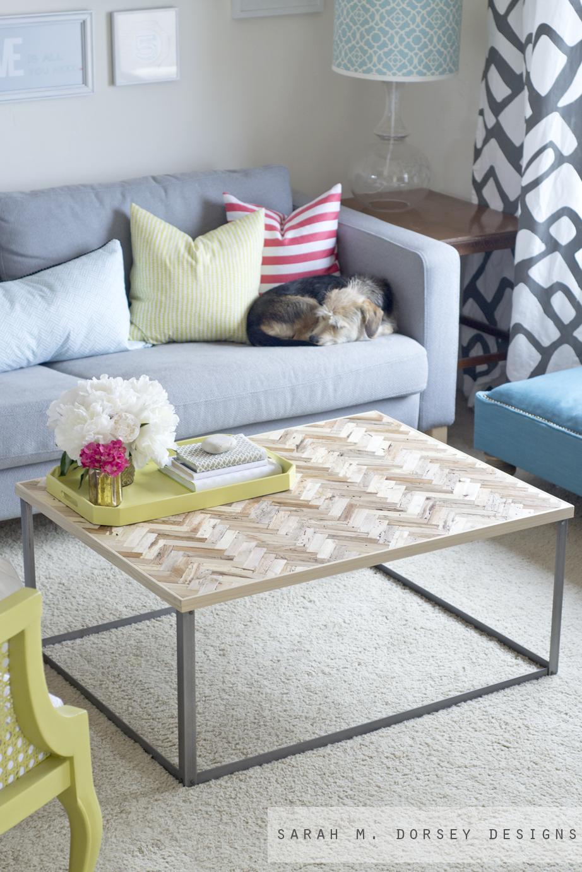 - Sarah M. Dorsey Designs: Herringbone Driftwood Table