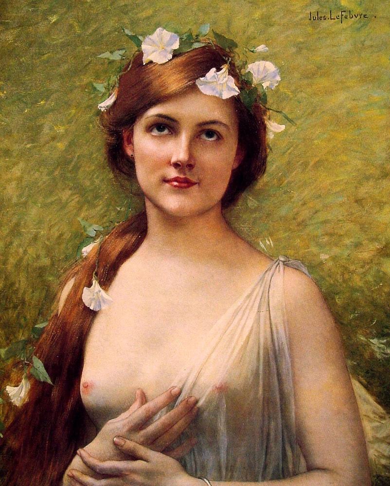 Jules Joseph Lefebvre woman flowers