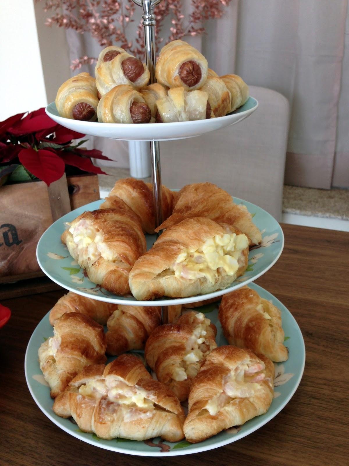 sausage roll, shrimp croissant