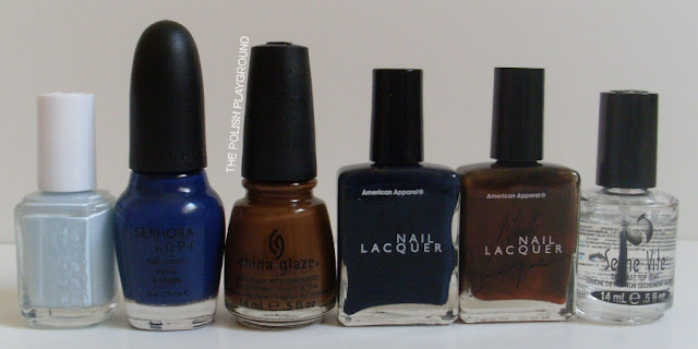 Essie, Sephora by OPI, China Glaze, American Apparel, Seche Vite