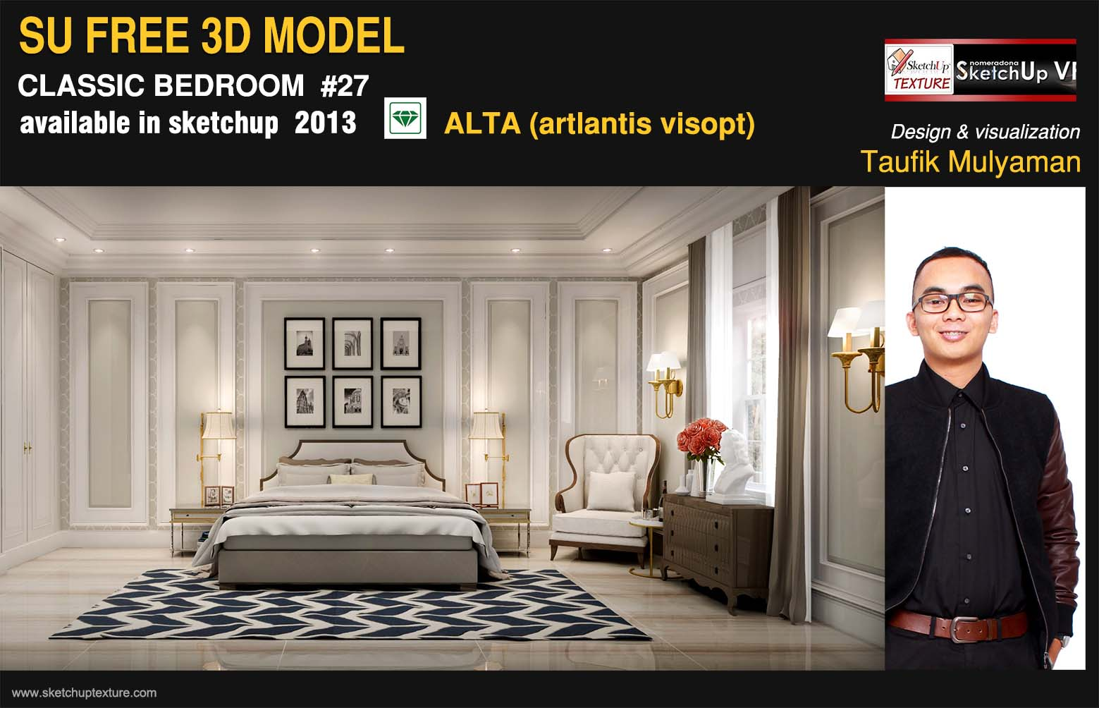 Free Sketchup Model Refined Classic Bedroom 27 Artlantis Alta Tutorial Ske