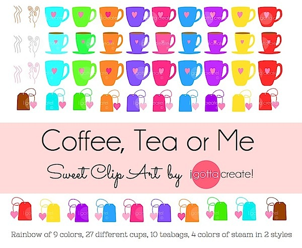 Coffee, Tea or Me Clip Art Collection by I Gotta Create