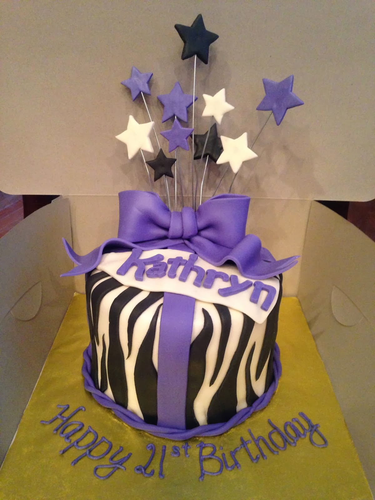 Joyce Gourmet Zebra Birthday Cake With A Lavender Ribbon Birthday Cake