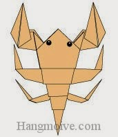 Bước 23: Vẽ mắt để hoàn thành cách xếp con bọ cạp bằng giấy theo phong cách origami.