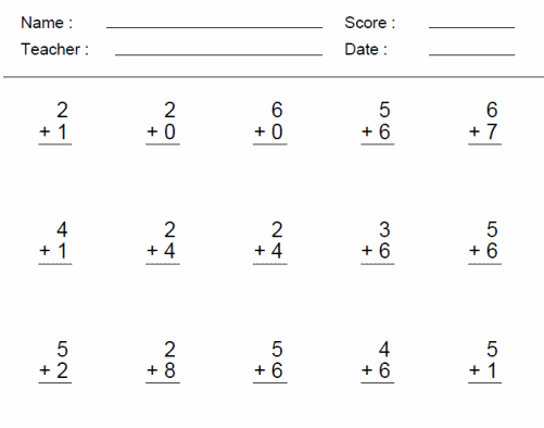 First Grade Math First Grade Math Test Worksheets Printable – Free Printable Addition Worksheets for First Grade