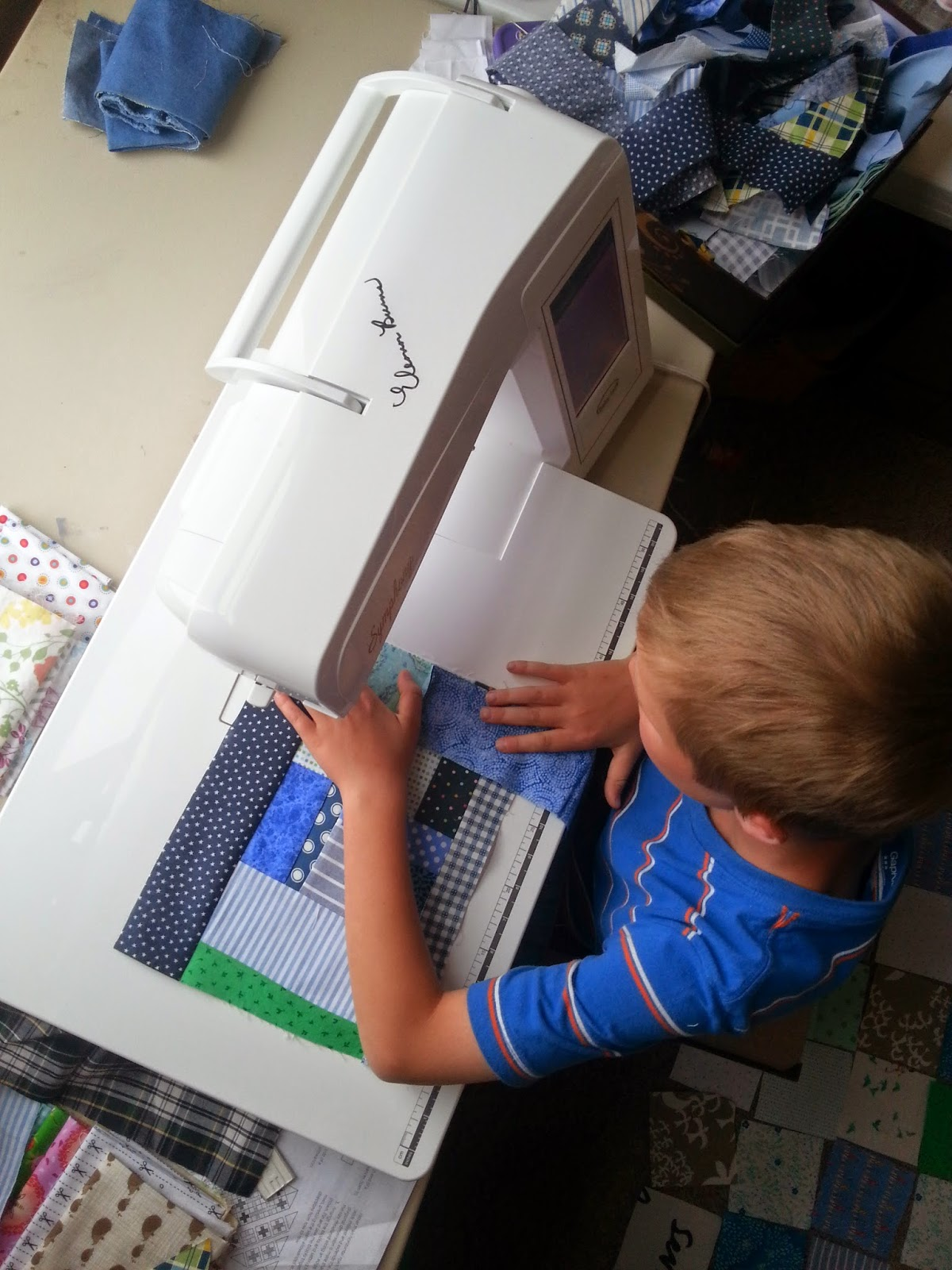 A Boy, a Sewing Machine, and Improv Blocks