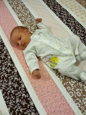 a pink and brown striped quilt with a baby on top