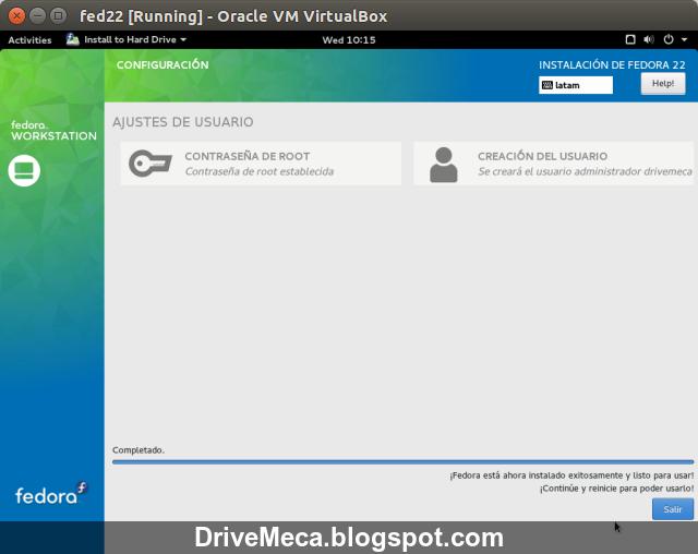 DriveMeca instalando Fedora Linux Workstation 22 paso a paso