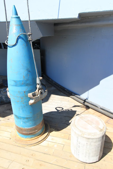 Display of Target Projectile and dummu powder bag at Battleship USS IOWA BB61 in Los Angeles, California, USA
