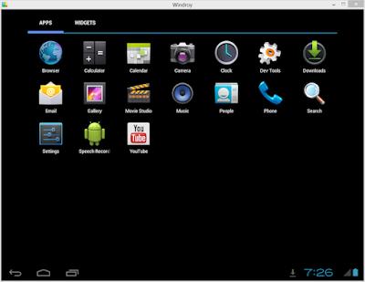برنامج مجاني لتشغيل نظام الأندرويد بشكل كامل علي الكمبيوتر Windroy 0.5.5