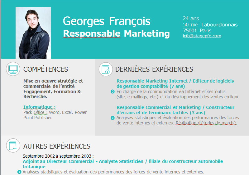 modele cv responsable marketing