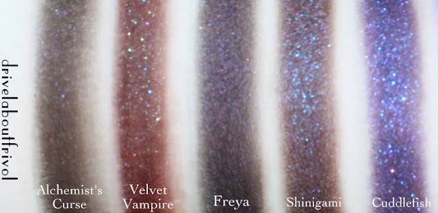 Fyrinnae purple eyeshadow swatches Alchemist's Curse* Velvet Vampire* Freya Shinigami Cuddlefish