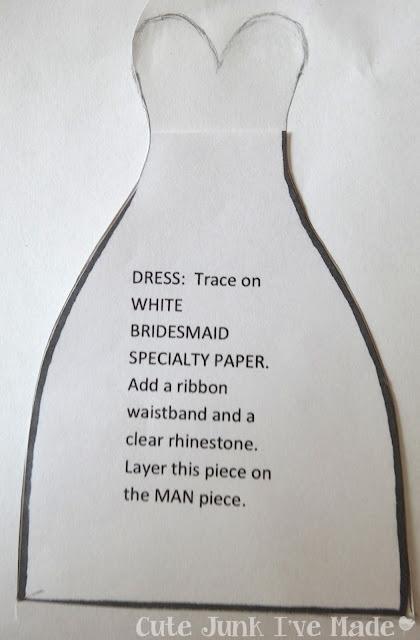 Homemade Wedding Card - Dress stencil to strapless