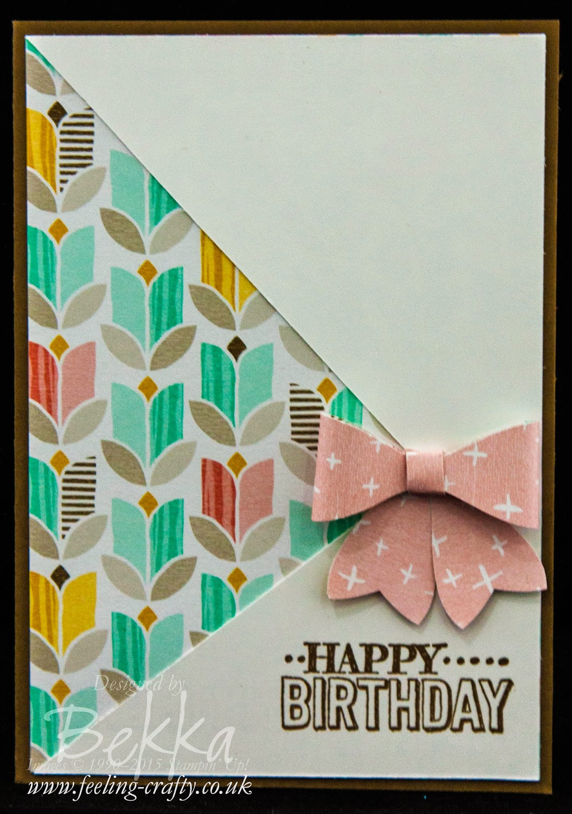 Bowtastic Birthday Card featuring Best Year Ever Papers from Stampin' Up! UK - you can get them for free here until 31 March 2015