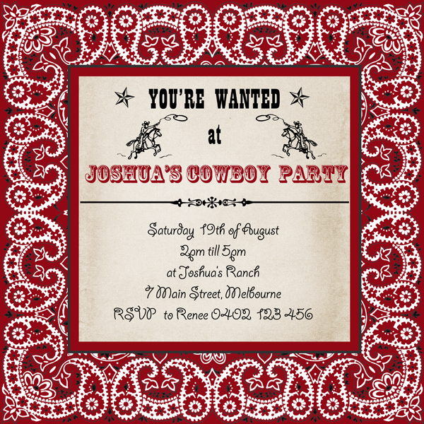 mother duck said lets party cowboy bandana invitation cowgirl bandana invitation. Black Bedroom Furniture Sets. Home Design Ideas