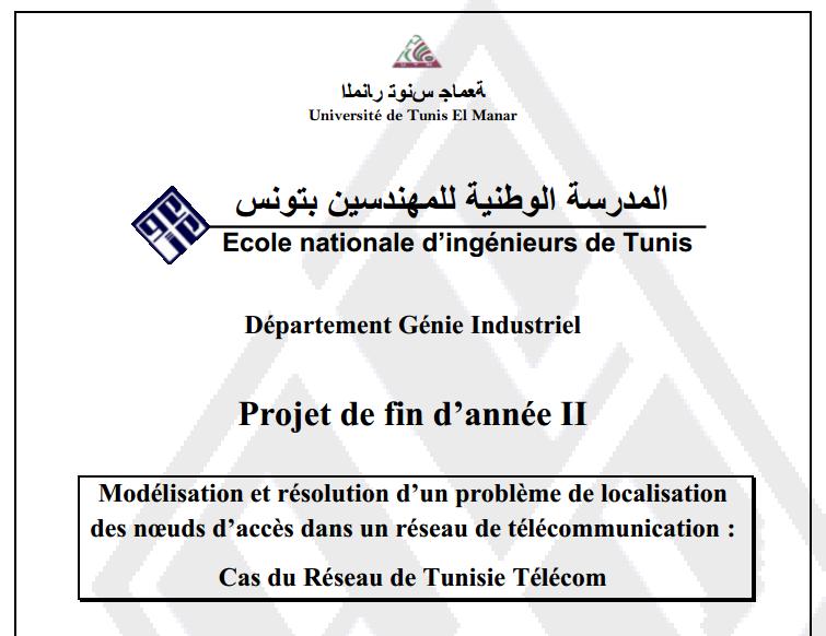 pdf  rapport de stage pfe enit tunisie  mod u00e9lisation et