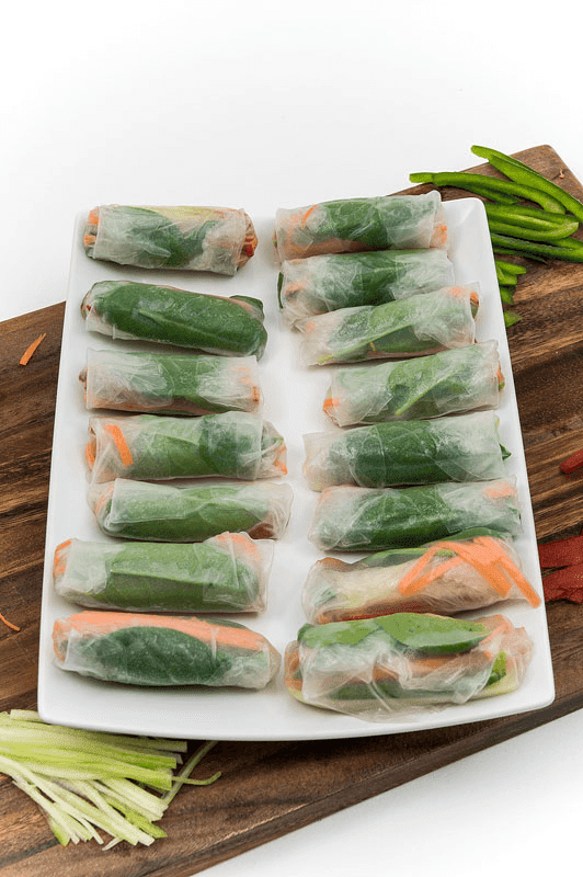 Vegan spring rolls on plate