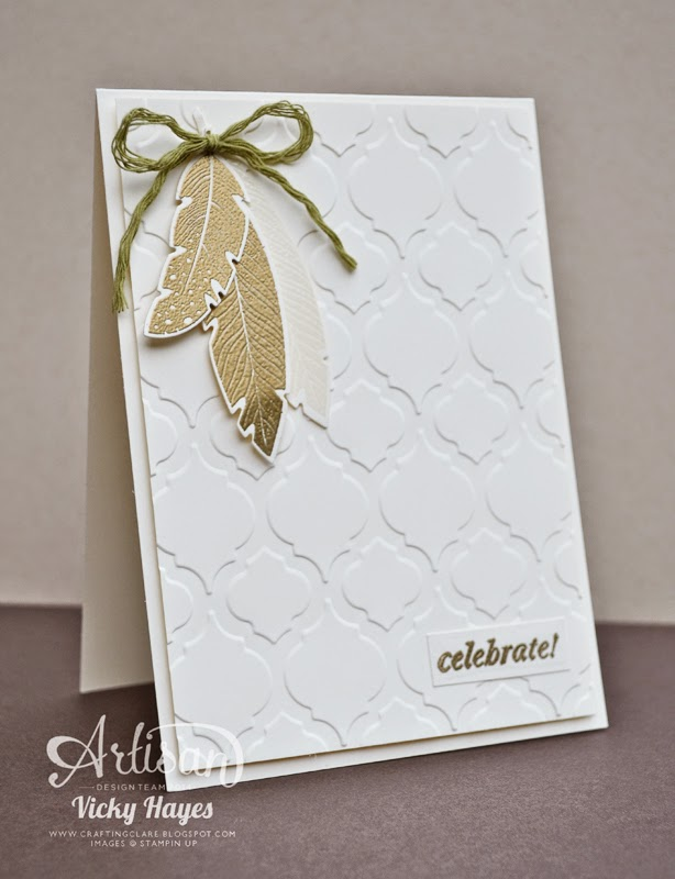 CAS card techniques with UK Stampin Up demonstrator Vicky Hayes using Modern Mosaic embossing folder