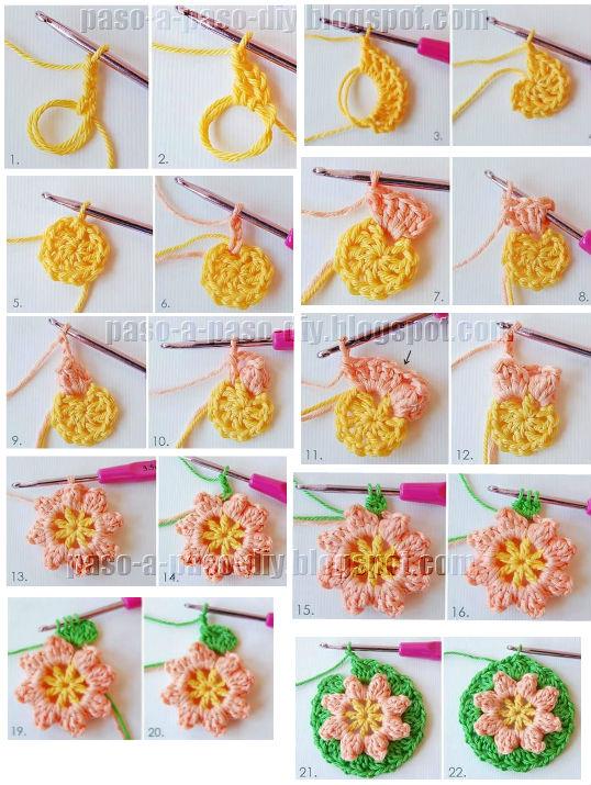 como tejer un granny crochet con centro de flores en varios colores
