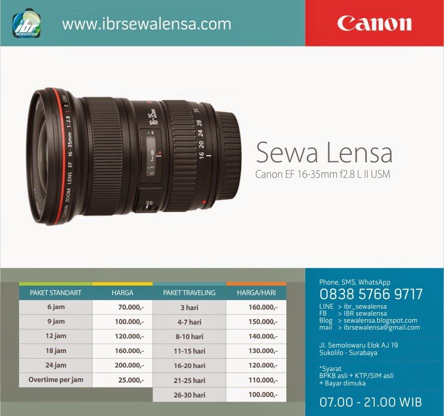 Harga sewa lensa Canon 16-35mm f2.8 L II USM