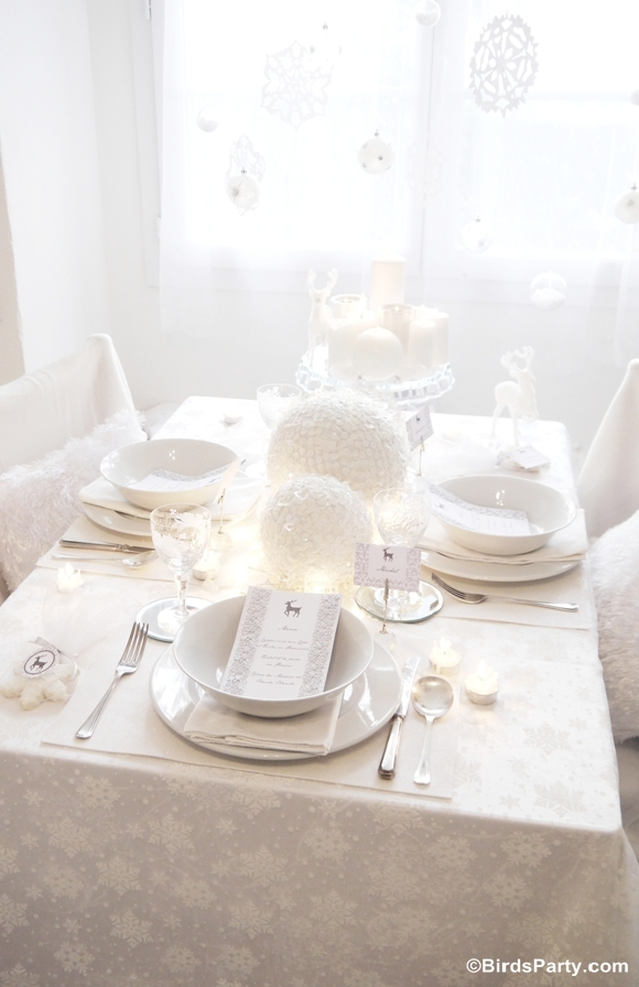 White Winter Wonderland Christmas Party Tablescape