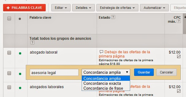 Variantes de las keywords en Adwords