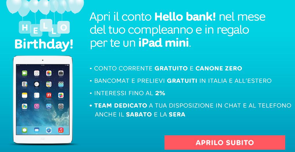 Hello Birthday! Hello Bank regala iPad Mini