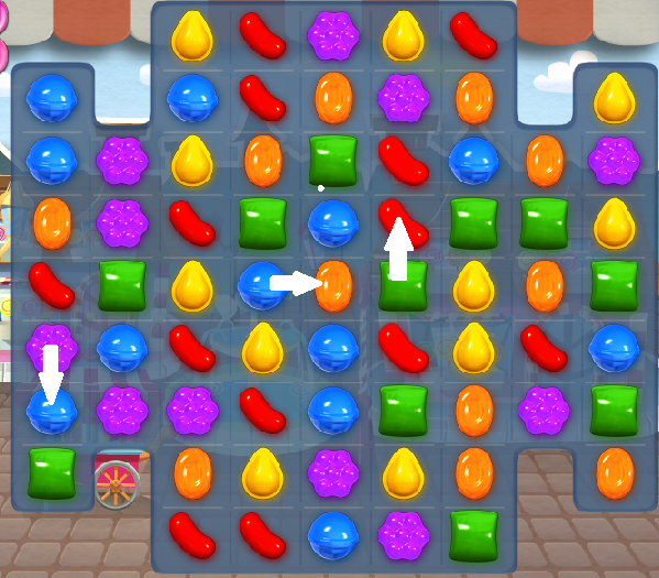 The best switch in this instance is to move the blue candy in the