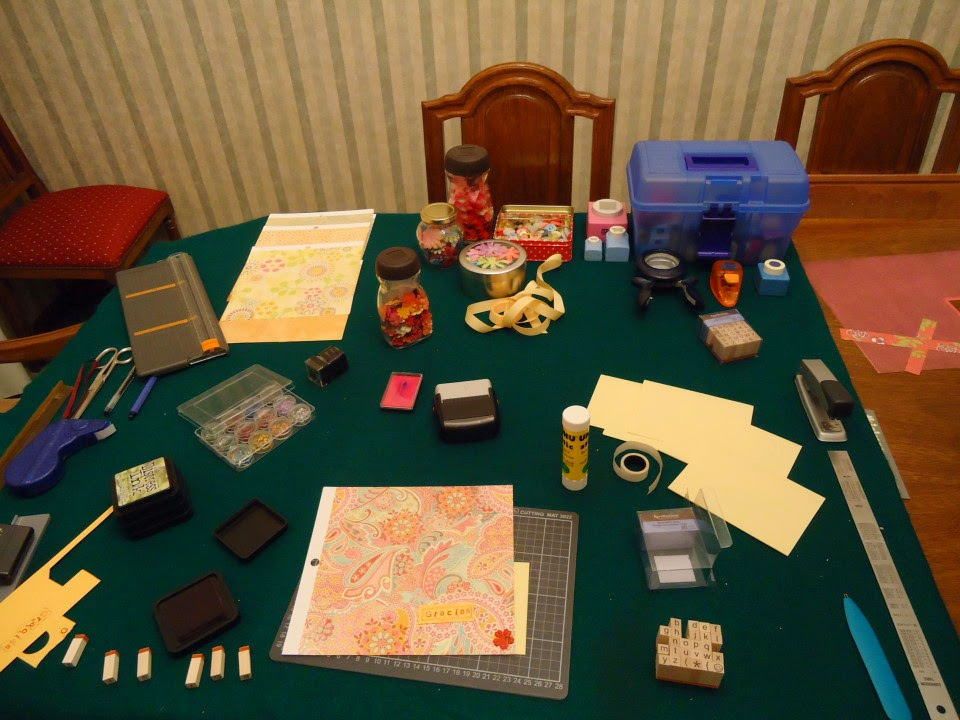 "Stamping and craft supplies on a table.  Making cards with the ""Serial Method"" of crafting @ATIPicalDay #crafting #cardmaking #teacherappreciation #stamping"