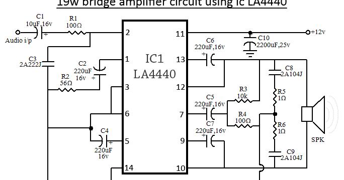 la4440 bridge amplifier wiring diagram schematic