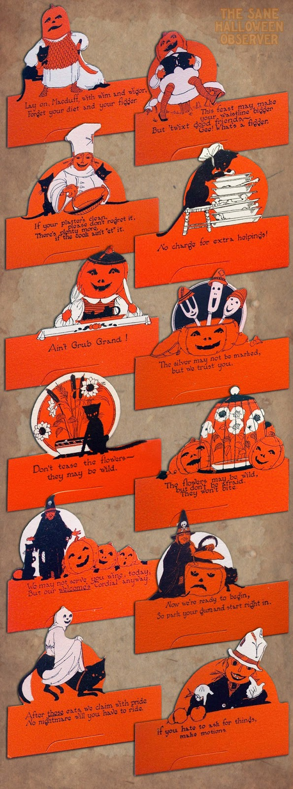 Ghosts, veggie people, Jack O'Lantern pumpkin heads, black cats, witches, and other strange illustrations for Halloween
