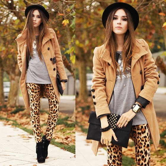 Street Style, Fashionable, Brown Coat with Grey T-Shirt, Leopard Patterned Tights, Leather Black  Boots, Clutch Bag and Adorable Hat