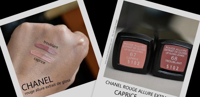 Les Essentiels Chanel Rouge Allure Extrait de Gloss Caprice Troublant Fall Makeup Collection 2012 Beauty Blog Swatches