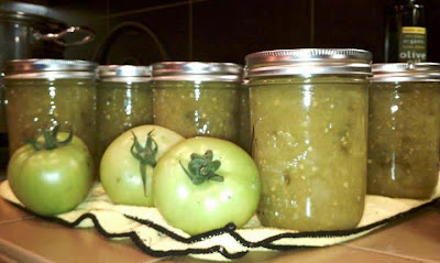 canning green tomatoes jalapenos in a relish