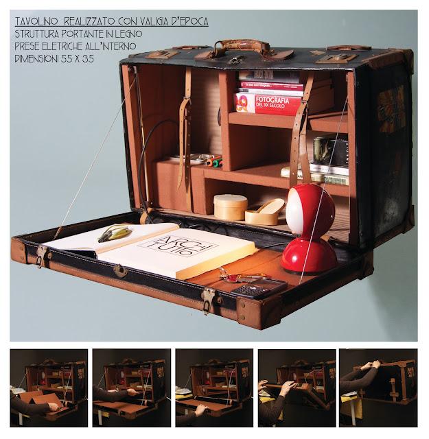 valigia ritrasformata in un tavolo da muro chiudibile per notebook fornito di presa elettrica e accessori