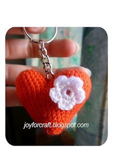 Crochet Red Heart with flower pattern amigurumi