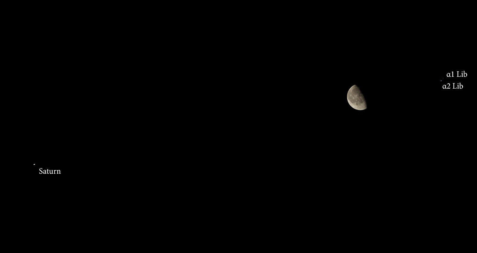 Moon with Saturn and Alpha Librae (α Lib)