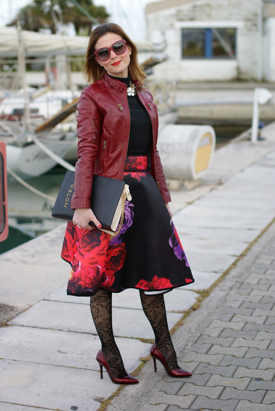 full floral print midi skirt, red leather jacket, Calzedonia crochet tights, Moschino notes bag, Fashion and Cookies, fashion blogger