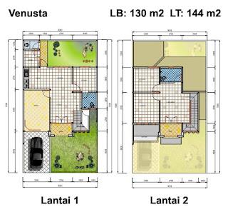 Denah rumah minimalis 2 lantai terbaik