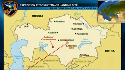 Map of the landing site of Expedition 27 / Soyuz TMA-20 in Kazakhstan. NASA 2011.