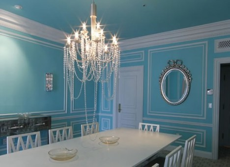 The Stunning Dining Room Has Been Created To Resemble A Signature Tiffany  Blue Box. The Walls And Ceiling Are Painted A Tiffany Blue, And The Crown  Moldings ...