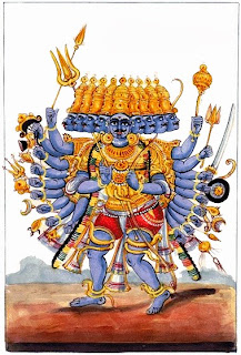Ravana believed himself invincible. This picture brings him into the present-day context by including in hi, arsenal a gun.