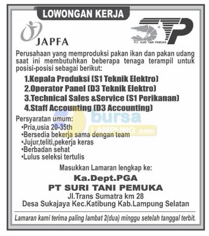 Lowongan Kerja Lampung, Kamis 23 Oktober 2014 di perusahaan PT. Suri Tani Pemuka