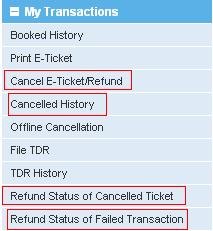 Status of Cancelled or Payment Failed Railway Ticket